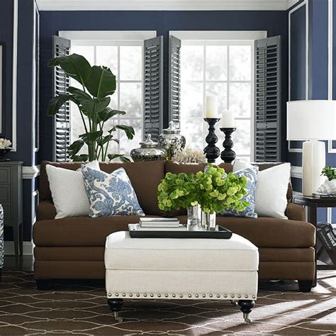 blue and brown sofa third color to lighten up brown navy room coastal living rooms ottoman inspiration and