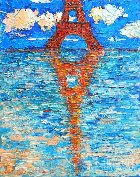 eiffel tower abstract impression painting by edulescu