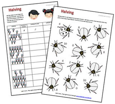halving to 10 free printable worksheet and what2learn