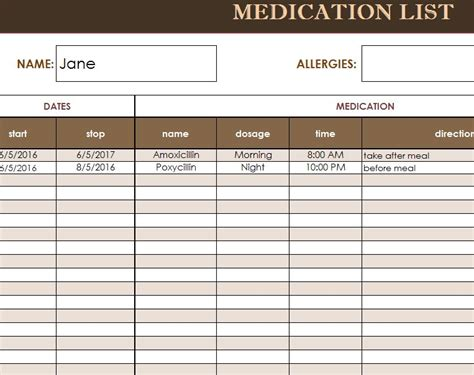 medication list template  excel templates