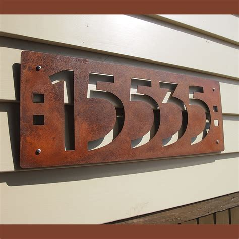 custom mission style house  numbers  rusted steel