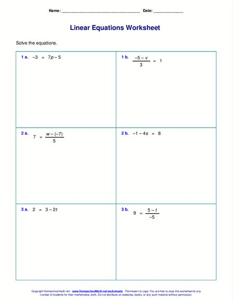 Solve Linear Equations Worksheets  Free Worksheets For Linear Equations Grades 6 9 Pre Algebra