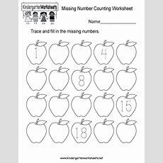 Missing Number Counting Worksheet  Free Kindergarten Math Worksheet For Kids