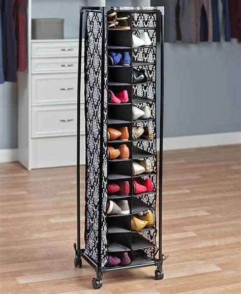 Details About Rolling Shoe Organizer Storage Holds 28