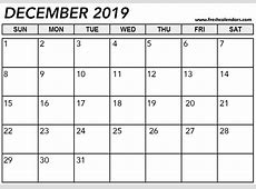 December 2019 Calendar Printable Templates
