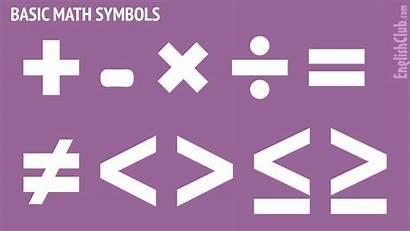 Symbols Math Maths Basic Names Mathematics English