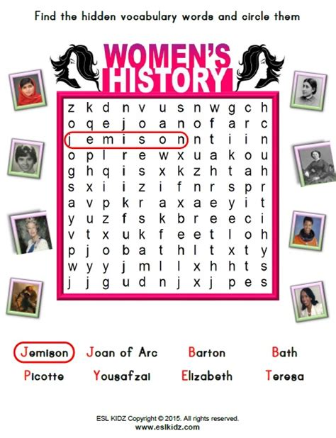 womens history month activities games  worksheets