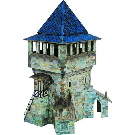 kit  hacer maqueta de carton torre alta medieval