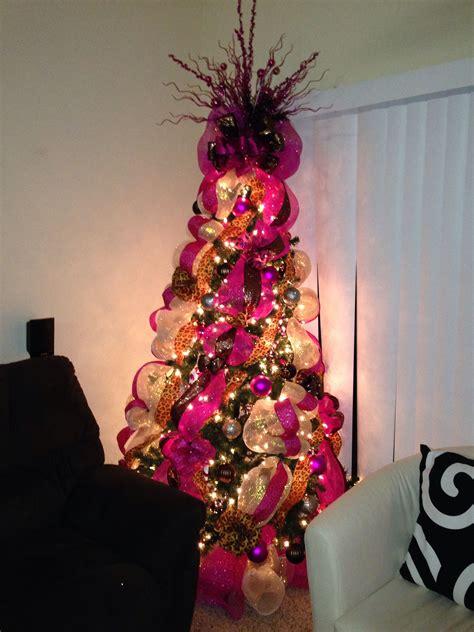 pink brown  animal print christmas tree christmas