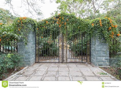 wrought iron gate and flowers iron fence stock photo