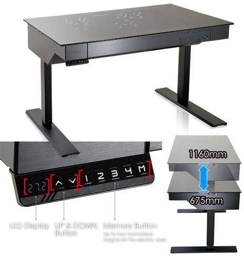 Lian Li Computer Desk Australia by Lian Li Dk 04 Desk Black Aluminum Power Adjust