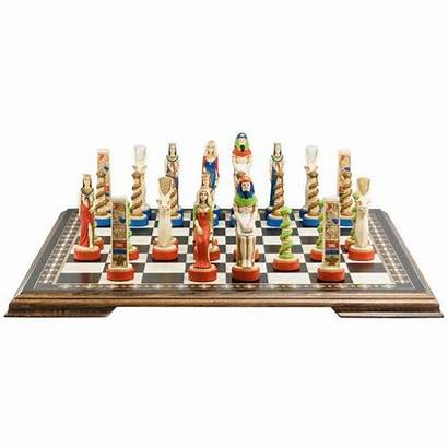 Chess Egyptian Painted Pieces Hand Themed Carlton