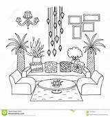 Coloring Living Element Drawn Vector Illustration Hotel sketch template