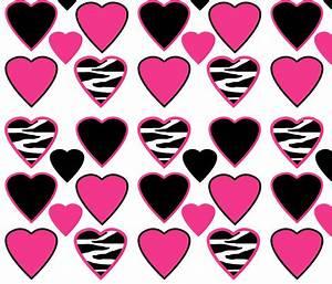 Hot Pink Zebra Animal Print Hearts fabric - decamp_studios ...