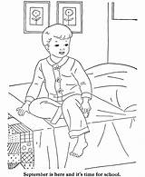 Coloring Bed Menino Sentado Cama Boy Go Ready Getting Boys Bedroom Colorear Dibujos Colorir Desenho Colouring Beirada Gratis Sheets Preschool sketch template
