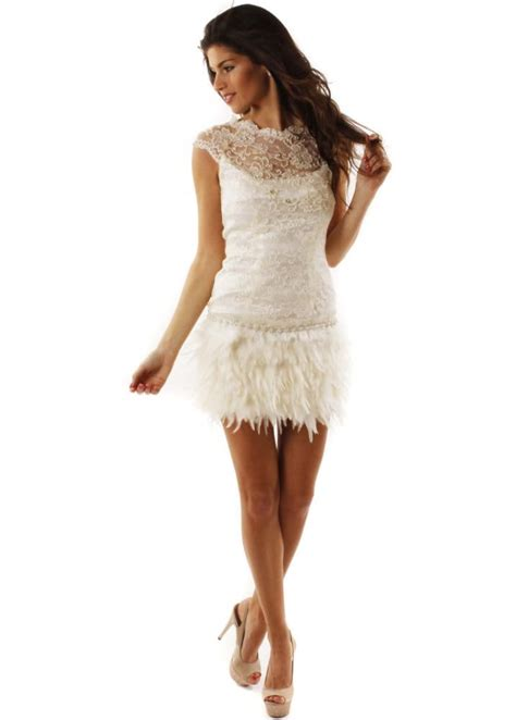 McBerry Ivory Lace & Feather Dress | Designer Lace ...