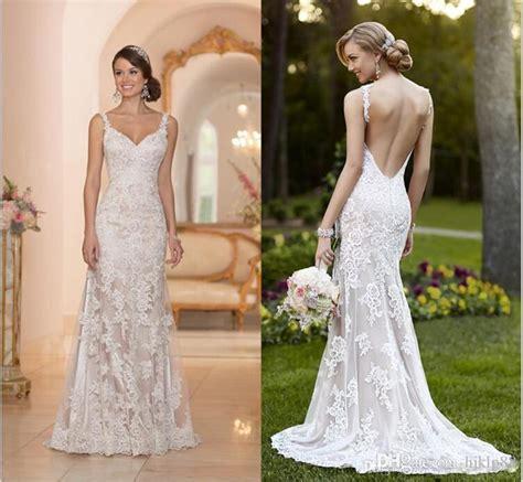 backless wedding dress lace stella york inspired ivory white lace wedding