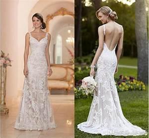 Elegant stella york inspired ivory white lace wedding for Lace backless wedding dress