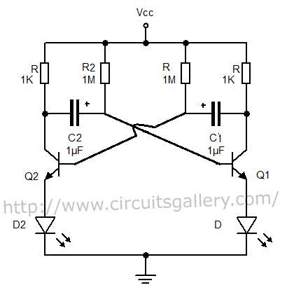 Astable Multivibrator Using Transistors Transistorised