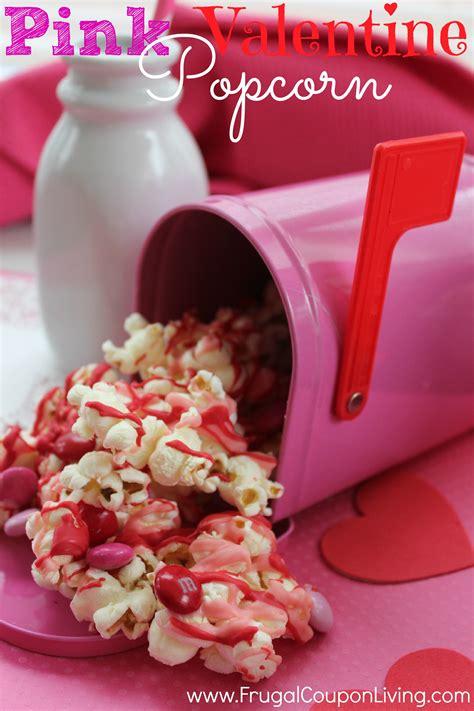 pink candy valentine popcorn february kids snack  treat