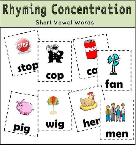 rhyming concentration preschool literacy center ideas