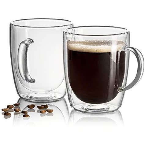 Each glass mug will hold up to 6 ounces of your favorite hot beverage. Amor Home 16oz Extra Large Coffee Mugs, Double Wall Insulated Glass, Set of 2 - Inosoc