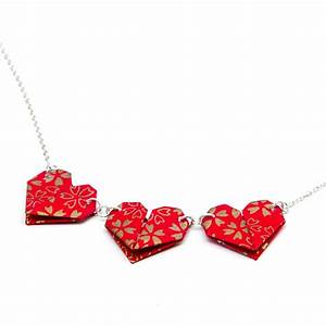 origami red hearts necklace by the origami boutique ...