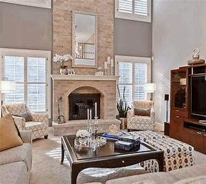 Fireplace Wall Ideas Brown Fabric Cushions Grey Tile