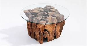 root coffee table with glass top With root coffee table with glass top