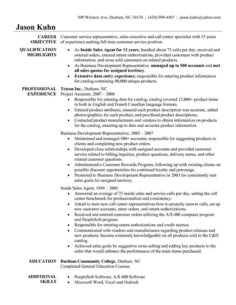 Sle Of Call Center Resume Objective by Call Center Customer Service Representative Resume Exles Writing Resume Sle Writing
