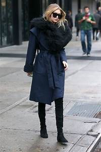 Splurge Gigi Hadid39s New York City Kempner Harlow Robe Coat And Stuart Weitzman Black Suede