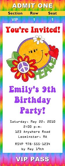 Retro Flower Power 60s 70s Birthday Party Ticket