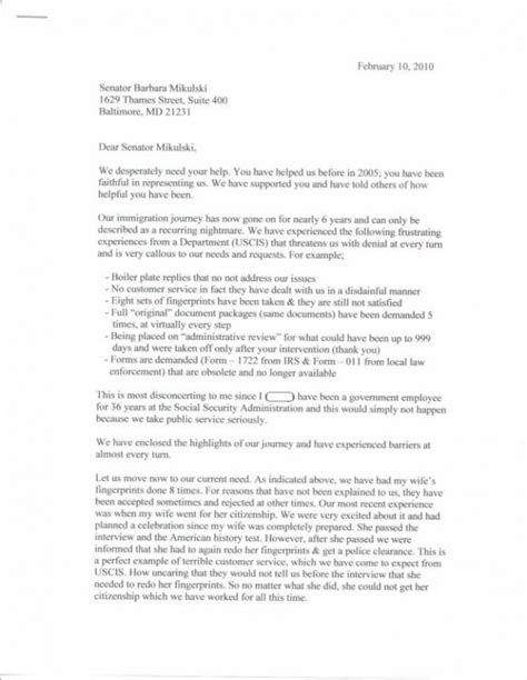 sle letter to senator letter to a senator sle resume for customer service