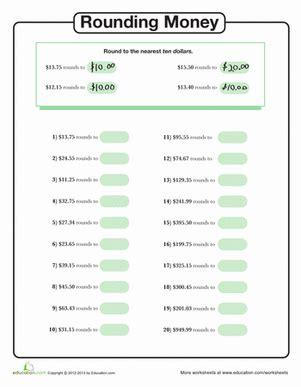 rounding money to the nearest ten dollars worksheets