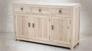 enfilade 3 portes et 3 tiroirs en bois massif finition brut With peindre un buffet en bois