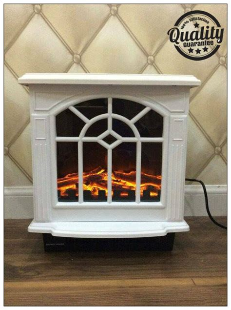 kw white electric fireplace heater portable wood burning