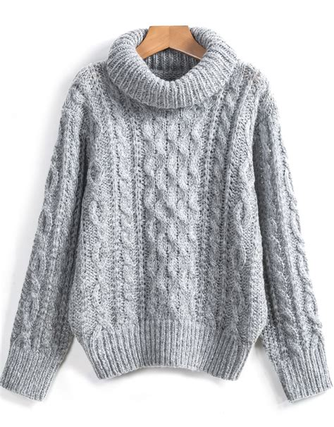 knit sweaters grey high neck cable knit sweater shein sheinside