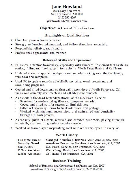Clerical Position Resume by Resume Sle Clerical Office Work