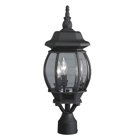 lowes l post lights shop portfolio 21 34 in h black post light at lowes com