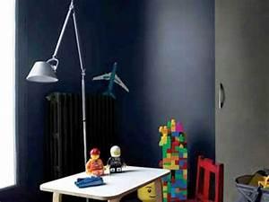 Chambre Bleu Nuit : peinture chambre enfant en deux couleurs gris et bleu nuit ~ Melissatoandfro.com Idées de Décoration