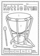 Instruments Percussion Drum Musical Teacherspayteachers Snare Tambourine Bells sketch template