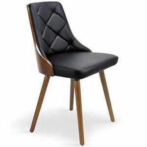 Lot Chaises Scandinaves : chaises scandinaves effet cuir bois noisette noir lot de 2 pas cher scandinave deco ~ Teatrodelosmanantiales.com Idées de Décoration