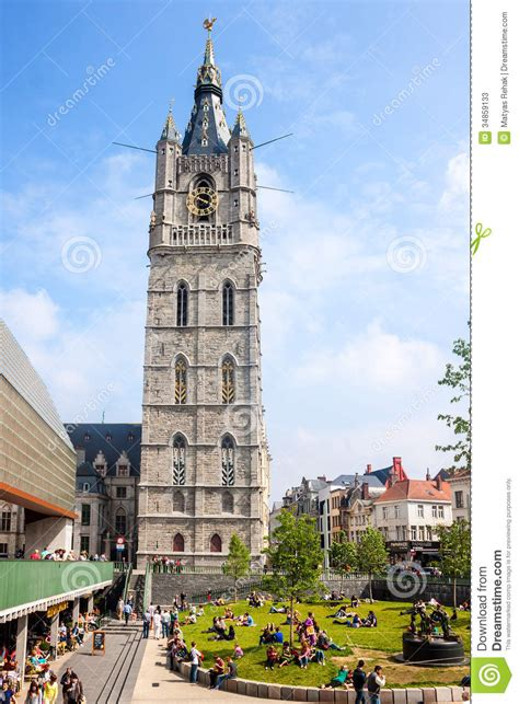 famous belfry tower  gent editorial stock photo image
