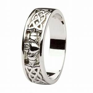 Claddagh wedding ring gents with celtic knotwork for Celtic claddagh wedding rings