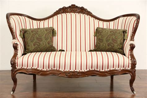 Vintage Settee Loveseat by Sold 1870 S Antique Carved Walnut Loveseat Or