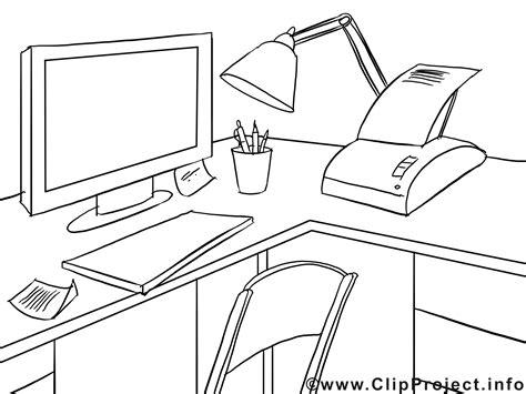 coloriage bureau büro computer fax malvorlage
