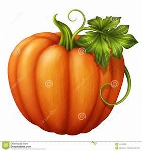 Autumn Orange Pumpkin With Green Leaf, Clip Art ...