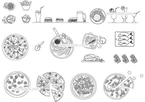 bloc cuisine autocad fast food pizza cad blocks autocad file