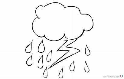 Lightning Coloring Pages Raindrop Printable