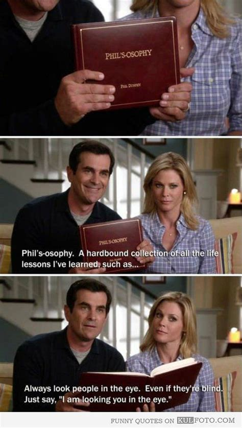 philosophy book modern family always look in the eye quote from modern family by phil dunphy reading from his
